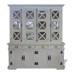 Old Country Cabinet, Bone Distressed with Gold Scrolls - Old Country Cabinet, Bone Distressed with Gold Scrolls