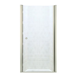 Sterling - Sterling Finesse 6305-30 30.25W x 65.5H in. Clear Glass Shower Door - 6305-30N - Shop for Doors and Enclosures from Hayneedle.com! The Sterling Finesse 6305-30 30.25W x 65.5H in. Clear Glass Shower Door lends a sleek elegant modern look to your bold-color decor or minimalist design scheme. This beautiful piece features a solid glass door with a mounted-through handle and CleanCoat-treated surface that protects the unit from water damage. A sturdy aluminum frame supports the works available in your choice of finish (silver or nickel finish). The full-length hinge sits behind the jamb giving the unit a frameless unbroken look. Dual roller-compression latches secure the door to the frame. An adjustable width allows you to fit the piece without cutting or drilling. Unit weighs a solid 60 lbs. Product Specifications Overall Height: 65.5 inches Overall Width: 30.25 inches Door Opening: 29 inches Opening Direction:Reversible Glass Thickness: .25 inches Installation Type: Alcove Material: Glass/Aluminum Door Type: Pivot About SterlingEstablished in 1907 and quickly recognized as a leading manufacturer of faucets and brassware Sterling has been known for their diversity of products and industry-leading designs for over a century. In 1984 Sterling was acquired by Kohler Co. to create a mid-priced full-line plumbing brand and allow Kohler the opportunity to sell their products in retail stores. Over the years Kohler quickly began acquiring other companies to help enhance the Sterling line of products that was quickly growing into the likes of stainless steel sinks compressed fiberglass bathtubs and enclosures and vitreous china products. With that said Kohler was able to take a modestly sized faucet company and turn it into a successful full-line brand. Today Sterling is a brand of Kohler co. and their diversity in products craftsmanship and innovation over a broad range of price points makes them a recognized leader in kitchen and bath design.