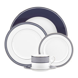 Lenox - Lenox Sharon Sacks Escapade 5-piece Place Setting - Contemporary sophistication combined with the simplicity of clean lines,deep blue color,and precious platinum make up the elegance that is Escapade fine dinnerware.