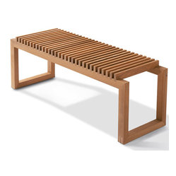 Skagerak Denmark - Cutter Bench - With its clean lines and compelling design, this handsome bench is as versatile as it is chic. Designed by Niels Hvass and crafted from your choice of oak or teak, it's an elegant touch in any entryway, living area or patio.