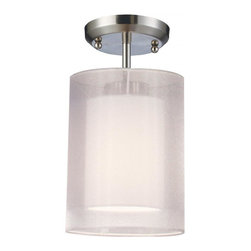 One Light Brushed Nickel Organza White Shade Drum Shade Semi-Flush Mount - For those who want a contemporary look with a traditional glow, look no further than this semi-flush. The inner shade is an opaque oval shade that emanates a soft glow while the outer shade is an oval, white organza shade. This fixture is finished in brushed nickel, and is sure to be an elegant addition to any room.