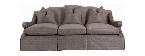"""Kathy Kuo Home - Vannes Modern French Country Skirted Sofa - """"This sofa features a classic European shape with an added kick of playfulfulness in the swooping armrests.  Upholstered in a fabulous, textured dark grey-khaki fabric, the Vannes sofa has piles of cushions to absorb the worry and woe from the busiest of days.  This sofa will be at home in many decors � from a Hollywood Regency luxury suite to a modern loft."""