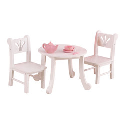 """KidKraft - Kidkraft Kids Children Home Indoor Pretend Play Toy Lil Doll Table And Chair Set - Our Lil Doll Table and Chair Set is designed to match our other popular Lil Doll items. With scallop detailing on the chair backs and sweet queen-Anne like legs on the table- the set is finished off in a clean white finish. Age Range: 3 Plus. Dimension: TABLE: 15.28""""Lx 15.28""""Wx 9.02""""H, Chair: 6.14'Lx 8.11""""Wx11.89""""H"""