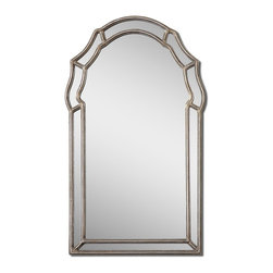 Antiqued Silver Leaf Arch Wall Mirror - *This decorative, arched mirror features an inner and outer frame finished in antiqued silver leaf with a gray glaze.