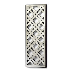 Kathy Kuo Home - Long Rectangle Lattice Trellis Antique Mirror - A contemporary take on the classic lines of lattice work, this gorgeous modern mirror looks great hanging in portrait or landscape orientation.  Sleek and sophisticated, this mirror delivers depth and light in the most elegant lines. Contemporary spaces of every stripe will welcome this piece.