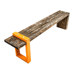 Anton Maka Design - Square Industrial Bench - This sturdy bench is made from salvaged wood and heavy-duty steel.