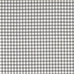 "Close to Custom Linens - 84"" Tab Top Curtain Panels, Unlined, French Country Brindle Gray Gingham Check - A traditional gingham check in brindle gray on a cream background. Includes two panels."