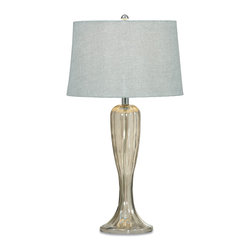 Bassett Mirror - Bassett Mirror Gable Table Lamp - Ideal for transitional decor, the Gable Table Lamp features a clear glass base, curved silhouette, chrome hardware and soft gray fabric shade. Its sleek lines and neutral color palette give off a clean, simplistic feel. Requires 60 watts or less, bulbs not included.