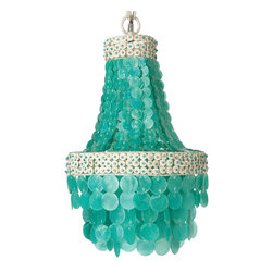 Kouboo - Small Manor Capiz Seashell Chandelier, Turquoise - Add a little island style to your interiors with this bold and beautiful chandelier. Made of capiz shells, coconut disks and beads, it'll look charming over your kitchen table, in your teen's room or in the bath.