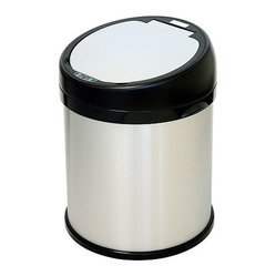 iTouchless - iTouchless 8 Gallon Sensor Touchless Trash Can Stainless Steel Round Extra-Wide ...