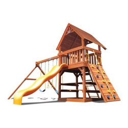 Superior Play Systems Original Fort with Wood Roof Swing Set - Your kids can survey their entire kingdom from the Superior Play Systems Original Fort with Wood Roof Swing Set, from Mom's flower beds to those far-off lands of the neighbor's yard. The centerpiece of this backyard palace is the extra-large deck underneath a wooden roof that adds a little something extra. Crafted from high-quality, extra thick-timbers of North American cedar with corrosion-resistant hardware, this roomy playset is designed to offer extra room, plenty of support and years of weather-resistant use. They can get in with the wide ladder or rock-climbing wall, and they can get out on the smooth, plastic slide. Large handles give them extra stability and both swings and the trapeze bar are dipped in vinyl to keeps those little fingers from getting pinched. The little touches are what make this playset stand out, like the strength of the extra-thick timbers, the spacious design or the added height to the swing set bar that gives more room for swinging.About Kidwise ProductsThis item is made by Kidwise Outdoors, a company whose focus is safe, fun excitement for kids. Kidwise strives to promote safe play for kids of all ages through outside activities. Their line of products includes swing sets, trampolines, inflatable bouncers, bikes, sport goals and many other items to choose from. Kidwise guarantees all of their products against defects. Like Hayneedle, their goal is 100% satisfaction from customers. Their product lines focus on kid-friendly items that are fun to play with and stimulate balance and a healthy lifestyle for kids.