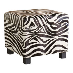 Southern Enterprises - Southern Enterprises Zebra Faux Leather Storage Ottoman - Southern Enterprises - Ottomans - BC5957R - Add some flare to your home with this glamorous zebra print foot stool. Perfect everywhere from living room to kid's room, the added storage and decorative accent are sure to make an impression. Complete with an emulated fur texture, this faux leather foot stool has a lid that lifts to reveal a spacious storage compartment for throw pillows, blankets or toys. The anti-slam hinge will add peace of mind with small children around. Add some character to your home today!