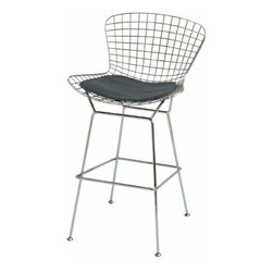 NUEVO - Wireback Stool, Black - For a pop of funky modern, add this comfortable bar stool to any kitchen or bar.