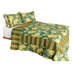 Blancho Bedding - Vintga Style Cotton 3PC Vermicelli-Quilted Patchwork Quilt Set  Full/Queen - Set includes a quilt and two quilted shams (one in twin set). Shell and fill are 100% cotton. For convenience, all bedding components are machine washable on cold in the gentle cycle and can be dried on low heat and will last you years. Intricate vermicelli quilting provides a rich surface texture. This vermicelli-quilted quilt set will refresh your bedroom decor instantly, create a cozy and inviting atmosphere and is sure to transform the look of your bedroom or guest room. Dimensions: Full/Queen quilt: 90 inches x 98 inches  Standard sham: 20 inches x 26 inches.
