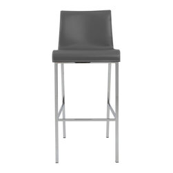 Eurostyle - Cam-B Bar Stool (Set Of 2)-Gry/Chrm - Gray regenerated leather over foam seat