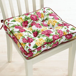 Homewear Table Linens, Rose Kiss Seat Cushion - Updating your seating takes just two minutes with these Rose Kiss seat cushions. I adore the burgundy piping and tufted detailing, which screams French cottage country chic.