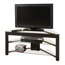 Convenience Concepts - Classic Glass Wood and Glass TV Stand - 8 mm tempered glass thick top shelf and 5 mm middle and bottom shelves for safety. Strong and safe. Limited warranty. Made from painted wood grain melamine veneer on MDF. Assembly required. 42.5 in. W x 17.75 in. D x 19.63 in. H (51 lbs.)