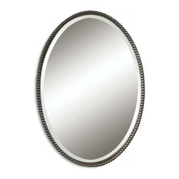 """Uttermost - Sherise Distressed Oil Rubbed Bronze Oval Mirror - This oval mirror features a beaded frame made of hand forged metal finished in lightly distressed, oil rubbed bronze. Mirror is beveled. Frame Dimensions: 22""""W X 32""""H X 1.75""""D; Mirror Dimensions: 20.75""""W X 30.75""""H; Finish: Lightly Distressed Oil Rubbed Bronze Finish: Material: Metal, Glass; Beveled: Yes; Shape: Oval; Weight: 18 lbs; Included: Brackets, Ready to Hang; Shipping: Free Shipping via UPS 7 - 10 Business Days"""