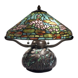 Dale Tiffany - Dale Tiffany TT12330 Alcoba 3 Light Table Lamps in Antique Bronze - Our delectable little Alcoba table lamp is big on design elements. a classic Tiffany style cone shade features sky blue background with a pastel pink floral pattern. The blooms are nestled amidst delicate light green and pastel yellow leaves. a band of amber, yellow, blue and green glass runs around the bottom of the shade, adding extra color and visual interest. Our dragonfly mosaic wheat base is vintage Tiffany style. The shade rests on a metal harp, which sits atop a jar shaped base, which features a background of azure blue art glass hand set in a mosaic pattern, which is overlaid, with a group of dragonflies in bold filigree overlay. a must have for any Tiffany enthusiast from novice to expert, Alcoba will delight your family for many generations to come.