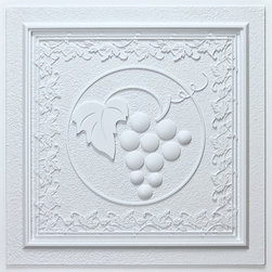 """Grape Vines Ceiling Tile - White - Perfect for both commercial and residential applications, these tiles are made from thick .03"""" vinyl plastic. Their lightweight yet durable construction make these tiles easy to install. Waterproof, these tiles are washable and won't stain due to humidity or mildew. A perfect choice for anyone wanting to add that designer touch at an amazing price."""