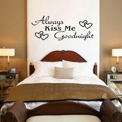 ColorfulHall Co., LTD - Decals for Walls Always Kiss Me Goodnight Words with Heart Love Goodnight - You will find hundreds of affordable peel - and - stick wall decal designs, suitable for all kinds of tastes and every room in your house, including a children's movie theme, characters, sports, romantic, and home decor designs from country to urban chic. Different from traditional decals, vinyl wall decals is with low adhesive that allows you to reposition as often as you like without damaging the paint. Application is easy: peel offer the pre-cut elements on the design with a transfer film, and then apply it to your wall. Brighten your walls and add flair to your room is just as easy.