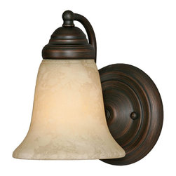 Golden Lighting - Centennial RBZ 1-Light Wall Sconce - Bulb not included. Traditional style. Requires one 100 watt medium incandescent Type A bulb. Tea stone glass shade. Can be mounted with the glass facing up or down. Flexible arms. Used in bath, foyer, kitchen, living and bedroom. Black and white wire gage. One E27 type porcelain socket in white. Electric wire gage: 18# 3321 150 degree C. Maximum wattage: 100W. Total wattage: 100W. Metallic finish. UL and CUL certified. UL listed for damp location. Made from steel and glass. Dark rubbed bronze color. Wire length: 8 in.. Fixture extension: 7 in.. Backplate extension: 1.37 in.. Canopy back plate: 5.12 in. Dia.. Glass: 5.5 in. Dia. x 5.25 in. H. Overall: 5.5 in. W x 8 in. H. Assembly Instructions. Warranty