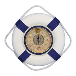 "Handcrafted Model Ships - Classic White Decorative Lifering Clock with Blue Bands 12"" - Nautical Decor - A decorative plethora of functionality and grace, the Lifering clock is classy and functional all while creating the perfect nautical mood in your home, office, or pool house. A Nautical star is displayed in the middle of the clock with roman numeric characters at the end of each star point for an elegant touch. Sailors knots mark individual hours, and the real map background supplies a strong feel of being on a real ship. The handpainted decorative lifering is a beautiful navy blue and cream off-white providing a slight patina as a real lifering would have after years at sea."