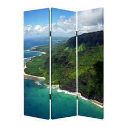 "Hawaiian Coast Screen - In real estate, this is what's called a ""million dollar view."" But you can have it for considerably less, thanks to one beautifully colorful photographic screen that offers your humble habitat two different views of the Hawaiian coast."