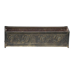 Garden Planter - We have here an awesome vintage metal planter with rose embossed detail. The planter is in excellent shape with great patina. The dimentions are 3 1/2 H, 15 L, 4 W.