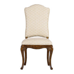 "Stanley Furniture - Arrondissement Volute Side Chair - An antique brass nailhead trim coordinates beautifully with the repeating scroll design of the Monarque fabric on the Volute Side Chair. This regal design features an upholstered back and seat for the ultimate in dining comfort. Seat 20 1/2"" W X 20 1/4"" D Made to order in America."
