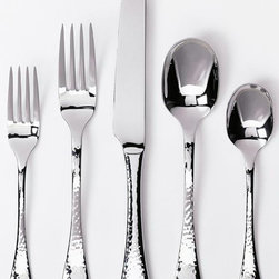 Home Decorators Collection - Lafayette Flatware Set - The Lafayette Flatware is a great way to add a special touch to your family's everyday dining. Featuring a rustic, hammered look, this stainless flatware is as stylish as it is durable and will add a casual elegance to your entertaining as well. Be sure to order enough settings from our quality kitchen decor.Durably made of 18/0 stainless steel with a bell-shaped handle and hammered finish.5-piece set includes a dinner fork, dinner spoon, dinner knife, salad fork and teaspoon.4-piece hostess set includes a serving spoon, pierced serving spoon, meat fork and sauce ladle.20-piece set includes (4) 5-piece place settings.45-piece set includes (8) 5-piece place settings, a butter knife and a 4-piece hostess set.36-piece party set includes 12 spreaders, 12 cocktail forks and 12 demitasse spoons.65-piece set includes (12) 5-piece place settings, a butter knife and a 4-piece hostess set.Dishwasher safe.
