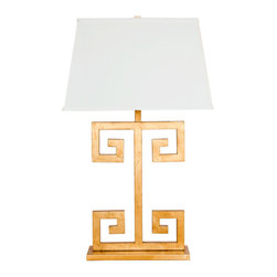 Worlds Away - Worlds Away - Clayton Greek Key Lamp - Clayton, Gold Leaf - Nickel Plated Greek Key Lamp Base with Rectangular Off white shade. Single Socket uses 60 w bulb. Clear cord.