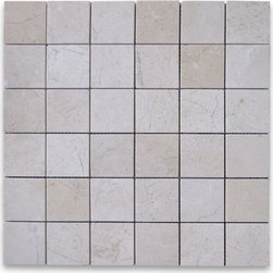 "Stone Center Corp - Spanish Crema Marfil Marble Square Mosaic Tile 2x2 Polished - Crema Marfil Marble 2x2"" square pieces mounted on 12x12"" sturdy mesh tile sheet"