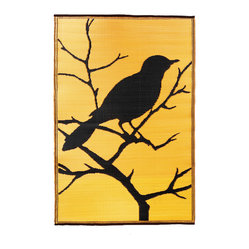 Bird Print Floor Mat, Gold Dusk/Black