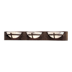 Minka-Lavery - Calavera Triple Bath Bar - Unique wall light features a Nutmeg finish with sleek lines and an Alabaster Dust shade, takes three 75- watt halogen bulbs (included). Minka-Lavery - 6823-14