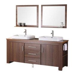 "Design Element - Design Element DEC083D-L Washington 72"" Double Sink Vanity Set in Espresso - Design Element DEC083D-L Washington 72"" Double Sink Vanity Set in Espresso"