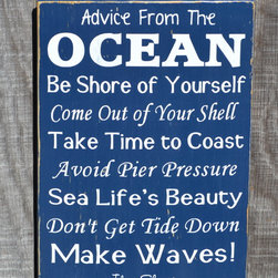 Beach Decor, Beach Rules, Poems Advice Ocean Sign - Beach Décor - Hand Painted Reclaimed Wooden Sign - Advice From The Ocean Sign on a navy blue background and white painted lettering.