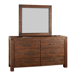 Modus Furniture - Modus Meadow Six Drawer Solid Wood Dresser with Mirror in Brick Brown - The Meadow Collection is constructed from solid Acacia wood, a hardwood best known for its stunning grain and rich contrasting colors. Eco-friendly and durable, the lumber also possesses a three dimensional quality, as color and luster vary by lighting. Once assembled, each piece is wire brushed, stained, treated with a rustic glaze, and sealed with a protective lacquer