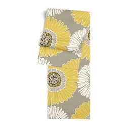 Yellow & Gray Giant Daisy Custom Table Runner - Get ready to dine in style with your new Simple Table Runner. With clean rolled edges and hundreds of fabrics to choose from, it's the perfect centerpiece to the well set table. We love it in this oversized yellow and gray daisy on cotton sateen. This giant modern floral is sure to drive you daisy!