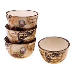 Certified International - Hand-painted Tuscan View 5.25-inch Ceramic Ice Cream Bowl - Crafted of durable,lead-free ceramic with a beautiful hand-painted finish,these lovely ice cream bowls will add rustic Italian charm to your dining table. Conveniently dishwasher-safe,this Tuscan-themed set offers a pleasing aesthetic.