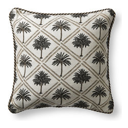 Frontgate - West Bay Palm Brown Outdoor Pillow with Cording - 100% Sunbrella® solution-dyed acrylic woven fabric. Finished with outdoor cording. Resists fading, mold and mildew. High-density polyester fill. Spot clean with mild soap and water; air-dry only. The vintage palm motif of the Sunbrella West Bay Palm Mineral Outdoor Pillow makes this Frontgate Exclusive perfect for your coastal home. Sewn closed and finished with cording, this neutral pillow will maintain its radiance through seasons hot and cold. 100% Sunbrella solution-dyed acrylic woven fabric .  .  .  .  . Made in the USA.