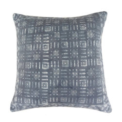 "Jaipur Rugs - Handmade Cotton Gray (24""x24"") Pillow - Dabu cotton pillows use a resist dying process to create interesting patterns.  This technique will have some variation in color due to the length of time that the die is applied."