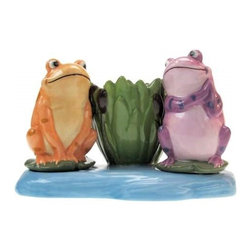 """Westland - 3.25"""" Colorful Frogs on Lily Pads Salt and Pepper Toothpick Holder Set - This gorgeous 3.25"""" Colorful Frogs on Lily Pads Salt and Pepper Toothpick Holder Set has the finest details and highest quality you will find anywhere! 3.25"""" Colorful Frogs on Lily Pads Salt and Pepper Toothpick Holder Set is truly remarkable."""