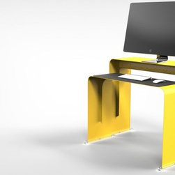 OneLess Desk - Here's a workstation made for desktop computers that is so much cooler and space efficient than the traditional offerings. Two nesting console-style units work together to provide separate surfaces for the monitor and the keyboard, making it perfect for monitors that house the motherboard. It comes in bright colors as well as neutrals, and the keyboard desk comes equipped with a slip pad. Clear sliders for a smooth transition from nesting to workstation are also included.