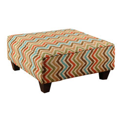 Chelsea Home Furniture - Chelsea Home Leah Ottoman in Magenta Rainforest - Leah Ottoman in Magenta Rainforest belongs to the Chelsea Home Furniture collection