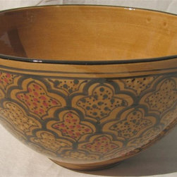 Le Souk Ceramique - Honey Deep Salad Bowl - 12 in. wide. 6 in. deep. Hand Painted . Hand Made . Dishwasher safe . Microwave safe . Made in Tunisia. Lead free glazes . Meets CA Prop 65 . Meets all Federal StandardsOur Honey design is steeped in the tradition of North Africa. Like other aspects of the culture, our Honey design is deeply rich with the warm tones of emerald, ruby and amber. Add a touch of sophistication to your table.