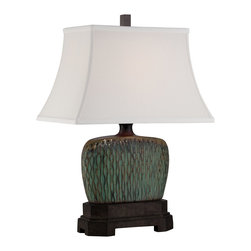 Quoizel - Quoizel CKNA1470T Niagra Table Lamp - The Niagra table lamp features a ceramic base done in green and brown.  The rivulets running down the base and the mottled bronze on the bottom of the fixture are in stark contrast to the white shade.  Simply stunning.
