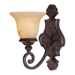 Savoy House - Knight 1-Light Sconce - Rich details and classic styling accentuate the Knight collection from savoy house. The bold lines are enhanced by a rich antique copper finish and antique marble glass.