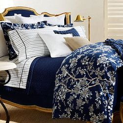 Deauville Blossom Comforter - Keep rich color by mixing stripes and chinoiserie patterns.
