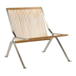 Stilnovo Alba Indoor/Outdoor Corded Lounge Chair - The Alba lounge chair is made from one piece of solid stainless steel that is bent to shape. The back and seat are a light brown colored cordage that will mold to the body. The materials make this lounge chair is suitable for outdoor use.